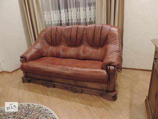 Кожаная мебель на дубе, кожаный диван + 2 кресла Boss- объявление о продаже  в Дрогобыче