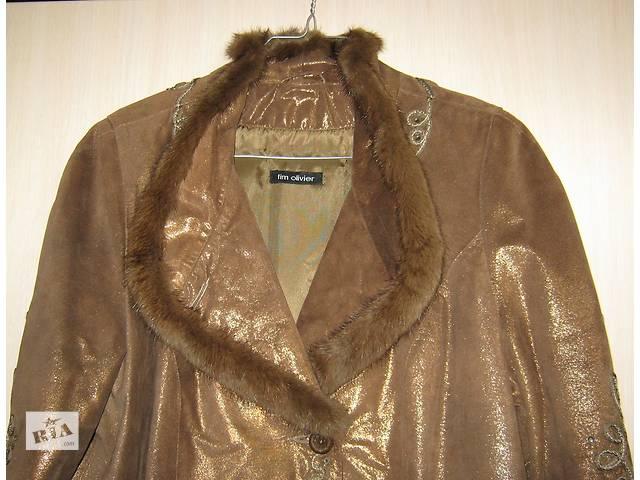 продам Кожаное коричневое пальто с поясом бу в Киеве