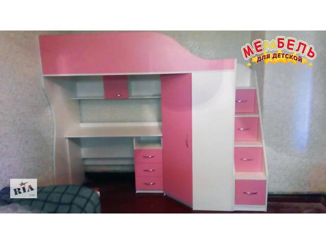 купить бу Кровать-чердак с мобильным столом, угловым шкафом и лестницей-комодом (кл4-2) Merabel Рассрочка в Харькове