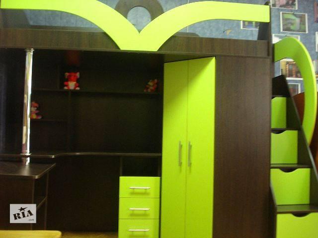 Кровать-чердак с рабочей зоной, угловым шкафом и лестницей-комодом (кл6-3) Merabel- объявление о продаже  в Харькове