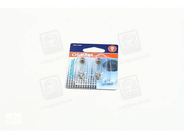 купить бу Лампа вспомогательного освещения софитная C10W 12V 10W SV8.5-8 (2 шт) blister (пр-во OSRAM) в Харькове