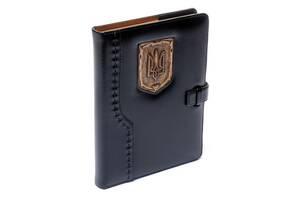Ежедневник кожаный не датированный Герб 260155 А5 15х21 см. черный