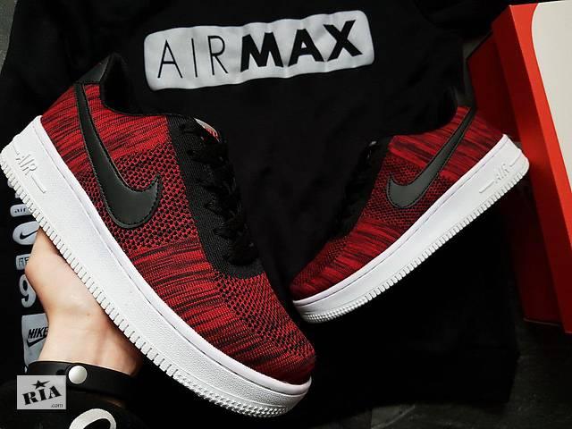 2cda3e95 Мужские кроссовки Nike Air Force Flyknit Low/ Red - Мужская обувь в ...