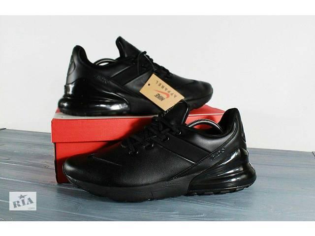 baecb266 Мужские кроссовки Nike Air Max 270 чёрные кожаные 0184 - Мужская ...