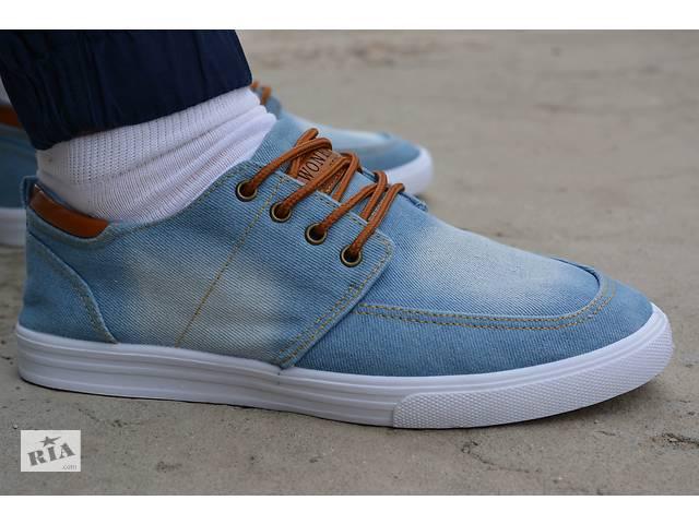 ca70a442 продам Мужские мокасины топсайдеры кеды низкие джинсовые синие бу в  Южноукраинске