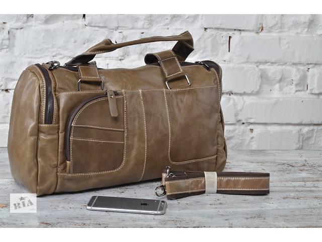 продам Мужская стильная спортивная 100% кожаная сумка в серо-коричневом цвете бу в Киеве