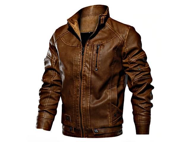 бу Облегающая, роскошная мужская кожаная куртка на молнии. в Виннице