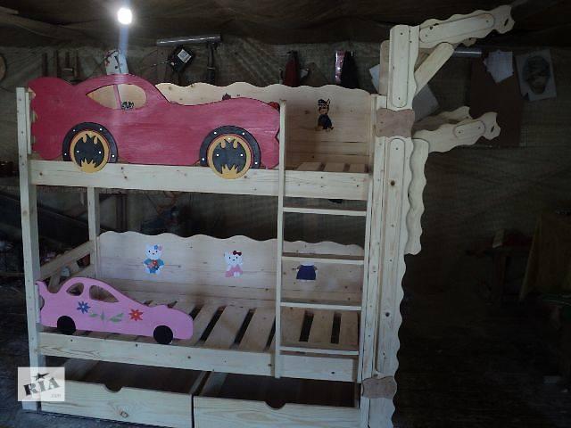 купить бу новинка двухъярусная кровать Бетмен+ спортстенка со сёмным турником растишка в Киеве