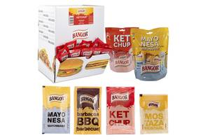 Порционные соусы в индивидуальной упаковке из Испании(порционные пакетики и контейнеры и ДИП упаковка и сашет.).