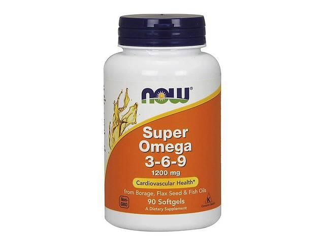 купить бу Супер Омега 3-6-9, Super Omega 3-6-9, , Now Foods, 1200 мг, 90 желатиновых капсул в Киеве