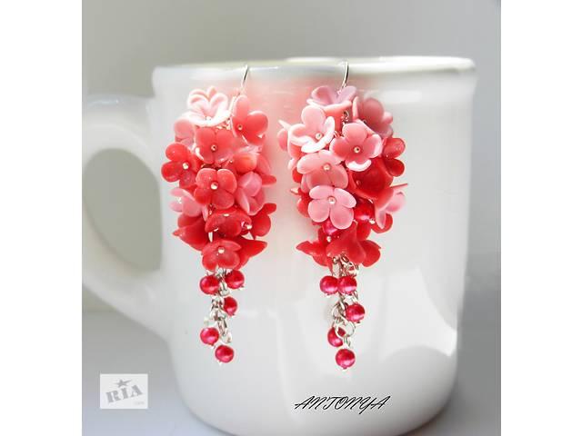 купить бу Серьги-гроздья Цветочки в розовых тонах в Киеве