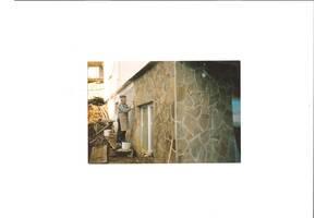Облицовка природным камнем-песчаником, кладка облицовочного кирпича.