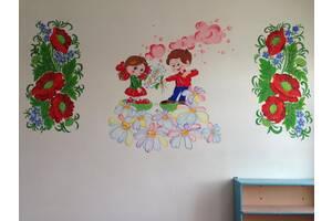 Распишу стены, фасады домов, внутренний интерьер квартир, детских садиков, домов отдыха петриковской росписью.