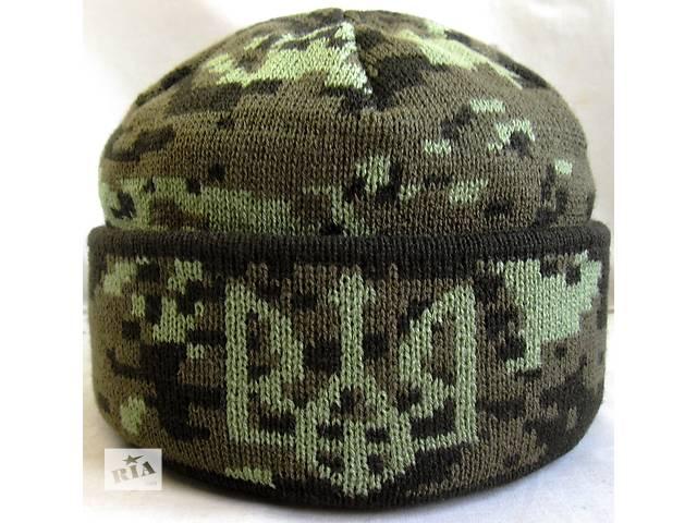 купить бу Шапка вязанная на флисовой подкладке , №6 Герб Украины , флис на пол головы .. в Черновцах