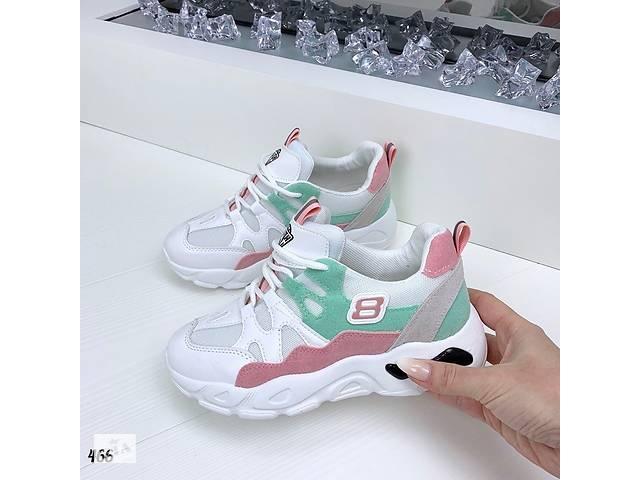 продам Белые кроссовки с мятно-розовыми вставками 36-40р. Маломерят бу в Ровно
