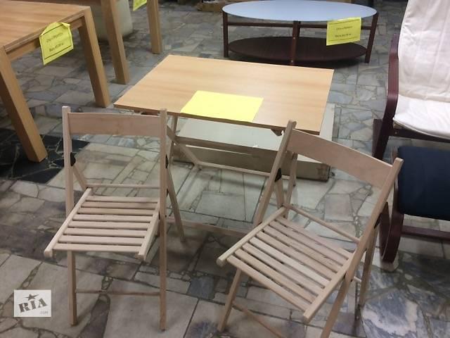 продам Набор стол деревянный складной и 2 стула, натуральный бук бу в Мукачево