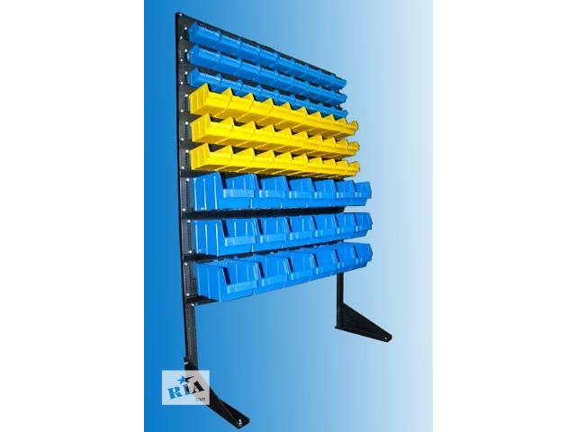 купить бу cтеллаж складской 1,5м + 72 пластиковых ящика в Мариуполе (Донецкой обл.)