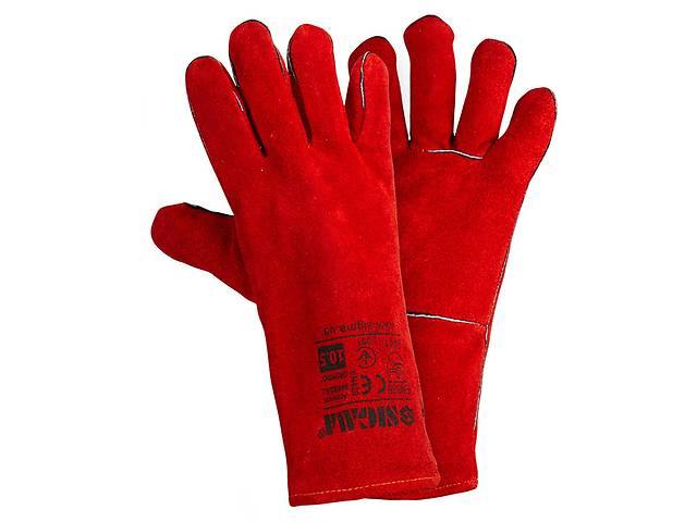 Перчатки краги сварщика р10,5, класс ВС, длина 35см (красные) Sigma (9449361)