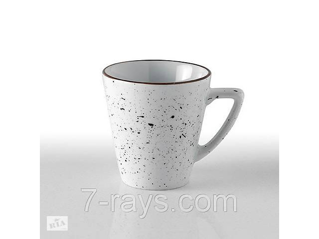 купить бу Чашка 290 мл. фарфоровая, белая с коричневым ободком White Dots, Porvasal в Дубно