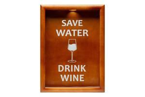Копилка для винных пробок BST PRK-52 38х28 см. орех Save Water drink wine