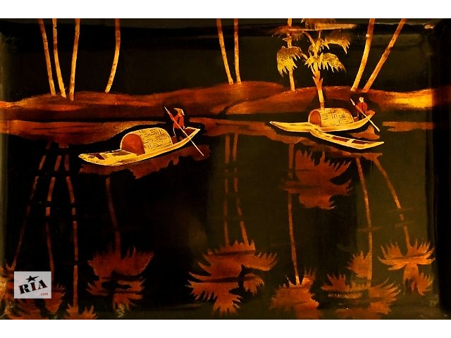 купить бу Вьетнамский поднос-картина (лаковая миниатюра по дереву, полировка) в Одессе