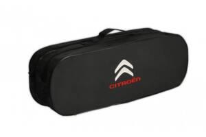 Сумка-органайзер с двумя отделениями в багажник для автомобилиста Poputchik Citroen 50х18х17 см., черная