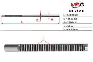 Шток рулевой рейки с ГУР NISSAN PRIMERA (P12) 02- MSG NI212C
