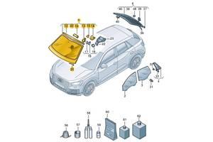 Новые Стекла лобовые/ветровые Audi Q2