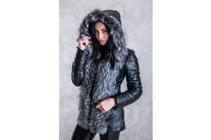 Шубка-куртка из чернобурки с кожаными рукавами