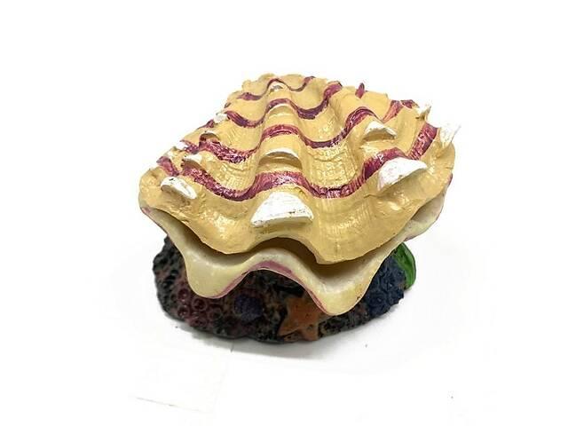 Декор для аквариума Ракушка с жемчугом на камне 10108 см 029B123