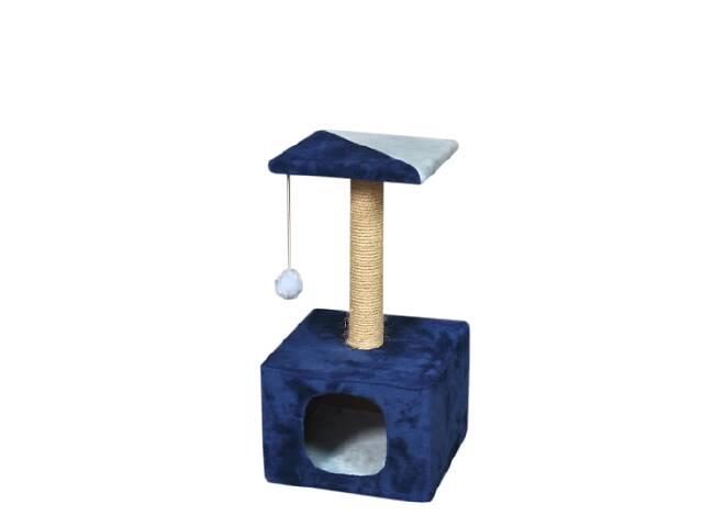 продам Когтеточка (дряпка) КотэДж домик 34х34см, высота-67 см, сизаль, сине-голубой бу в Києві