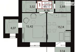 Продается 1-комнатная квартира 49.17 кв. м в Хмельницком