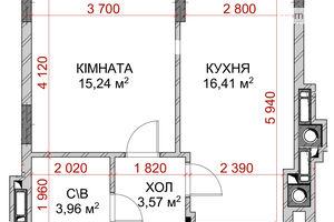 Продается 1-комнатная квартира 36.22 кв. м в Броварах