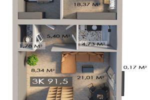 Продается 3-комнатная квартира 91.5 кв. м в Ивано-Франковске