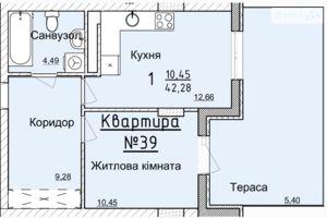 Продається 1-кімнатна квартира 38.6 кв. м у Львові