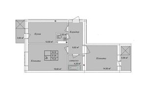 Продается 2-комнатная квартира 70.24 кв. м в Тернополе