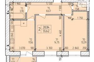 Продається 2-кімнатна квартира 57.79 кв. м у Хмельницькому