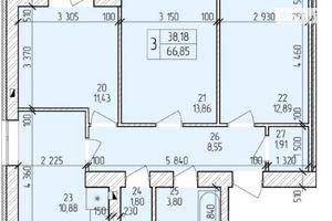 Продається 3-кімнатна квартира 69.02 кв. м у Хмельницькому