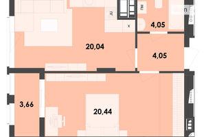 Продается 1-комнатная квартира 52.24 кв. м в Житомире