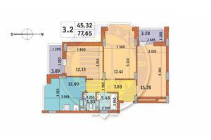 Продается 3-комнатная квартира 77.65 кв. м в Киеве