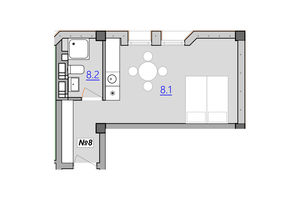 Продается 1-комнатная квартира 27.4 кв. м в Тернополе
