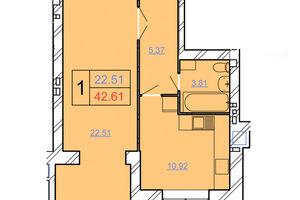 Продается 1-комнатная квартира 42.61 кв. м в Хмельницком