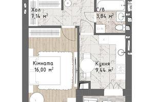 Продается 1-комнатная квартира 39.17 кв. м в Одессе