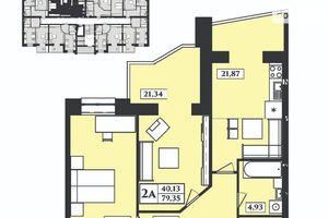 Продается 2-комнатная квартира 80.7 кв. м в Житомире