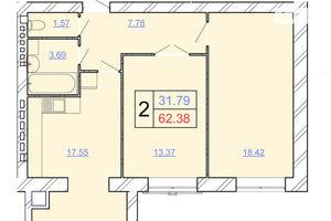 Продается 2-комнатная квартира 62.38 кв. м в Хмельницком