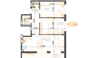 Продается 2-комнатная квартира 75.23 кв. м в Ирпене