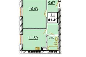 Продается 1-комнатная квартира 41.49 кв. м в Ужгороде