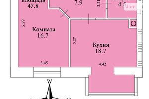 Продается 1-комнатная квартира 48 кв. м в Николаеве