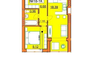 Продается 1-комнатная квартира 38.15 кв. м в Ирпене