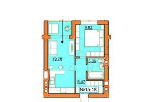 Продается 1-комнатная квартира 39.94 кв. м в Ирпене